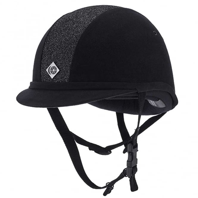 Charles Owen YR8 Sparkly Centre Black/Black Riding Hat