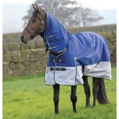 100g Fixed Neck Turnout Rug Navy/Grey