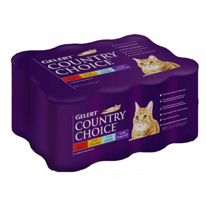 Gelert Country Choice Cat Meat - 12 x 400g Can Variety Pack