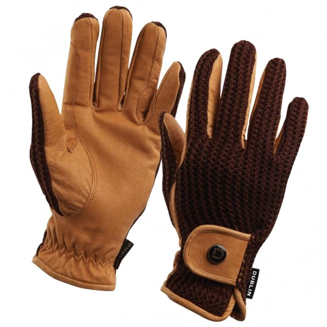 Dublin Dublin Crochet Riding Gloves Natural/Brown
