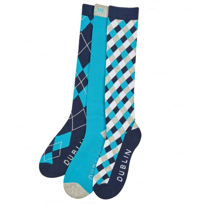 Dublin Diamond Socks 3pk Aqua Adult One Size