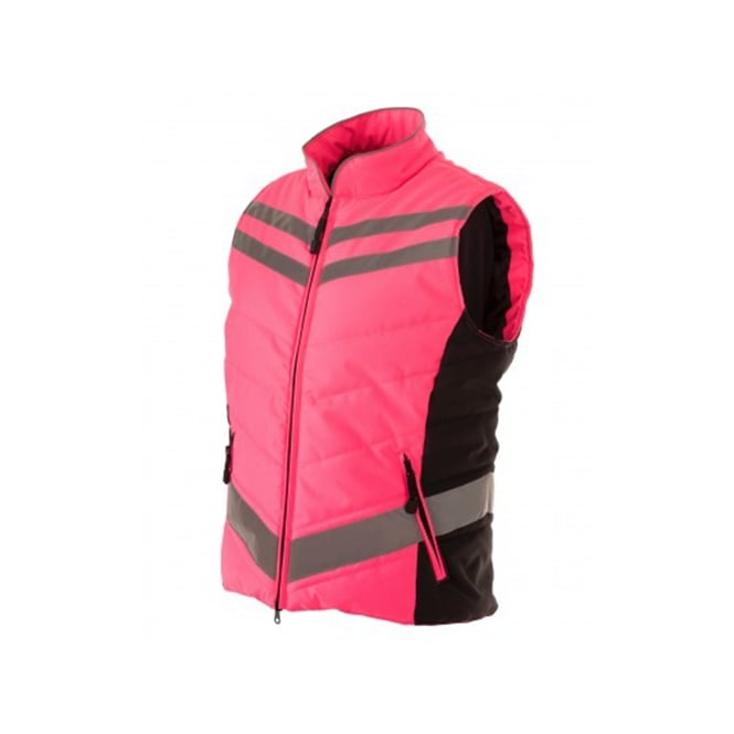 Equisafety Quilted High Visibility Gilet Pink