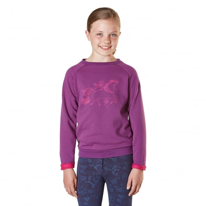 Harry Hall Cherrybank Junior Pony Print Sweatshirt Purple