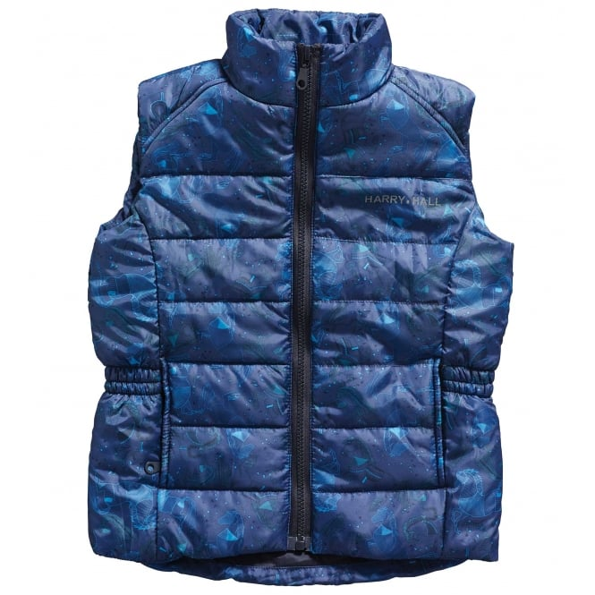 Harry Hall Cubley Horse Print Junior / Kids Gilet Navy