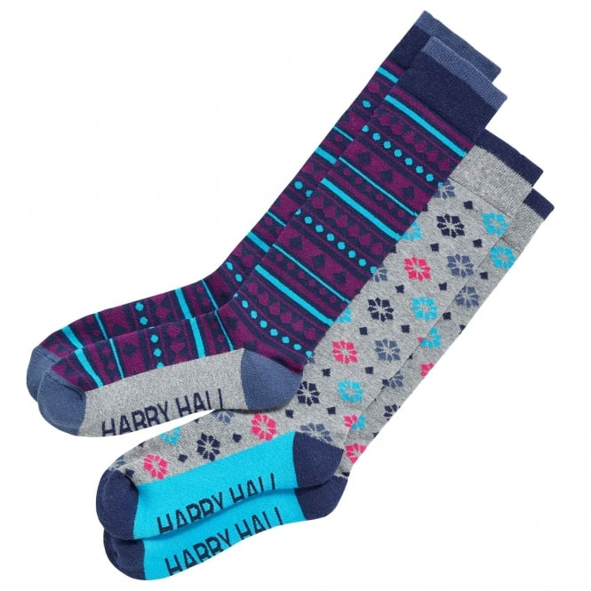 Harry Hall Womens Riding Sock 2Pack Mixed 3-8