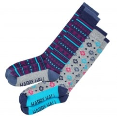 Womens Riding Sock 2Pack Mixed 3-8