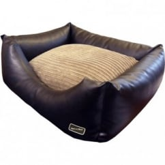 Hem And Boo Faux Leather Rectangle Dog Bed Brown