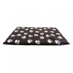 Paws Fleece Dog Crate Mat Brown