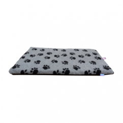 Paws Fleece Dog Crate Mat Grey