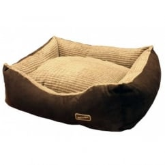 Hem And Boo Rectangular Chill Cord Dog Bed Brown