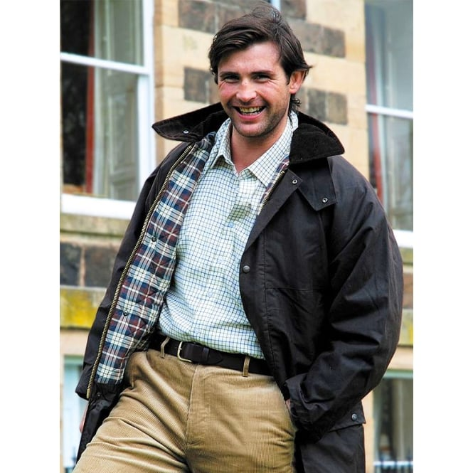 Hoggs of Fife Classic British Waxed Padded Jacket Navy