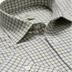 Pure Cotton Tattersall Check Shirt Navy & Olive
