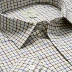 Pure Cotton Tattersall Check Shirt Wine & Navy