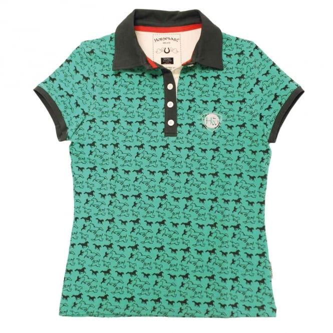 Horseware Ashlinn Ladies Print Polo Pool Green