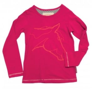 Horseware Girls Long Sleeve Top With Horse Head Design