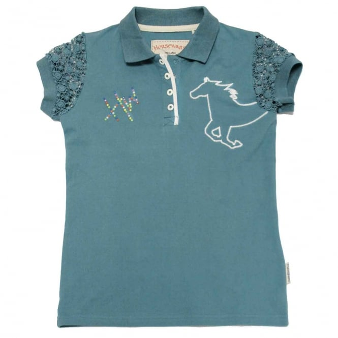 Horseware Girls Pique Polo Brittany Blue