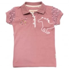 Girls Pique Polo Rosette Pink