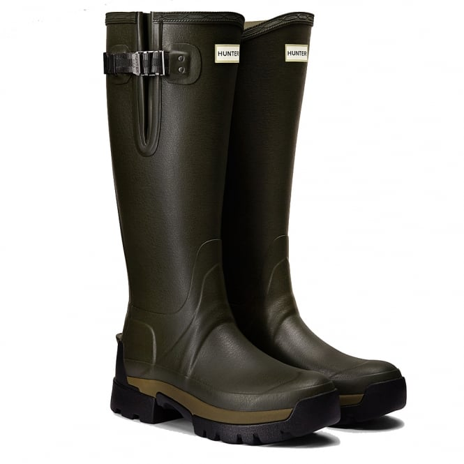 Hunter Mens Balmoral Adjustable Neoprene Wellington Boots Dark Olive
