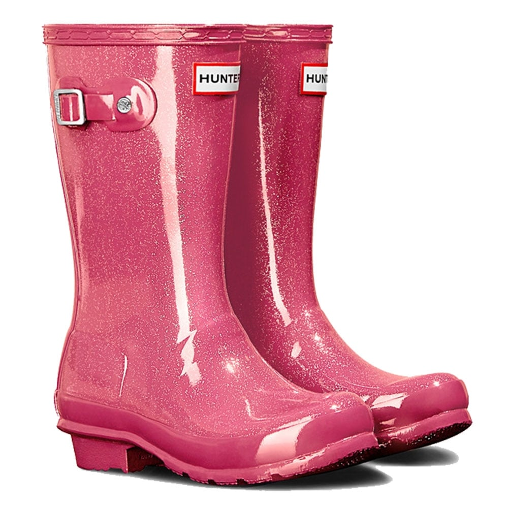 Hunter New Original Kids Glitter Finish Wellington Boots Mosse Pink