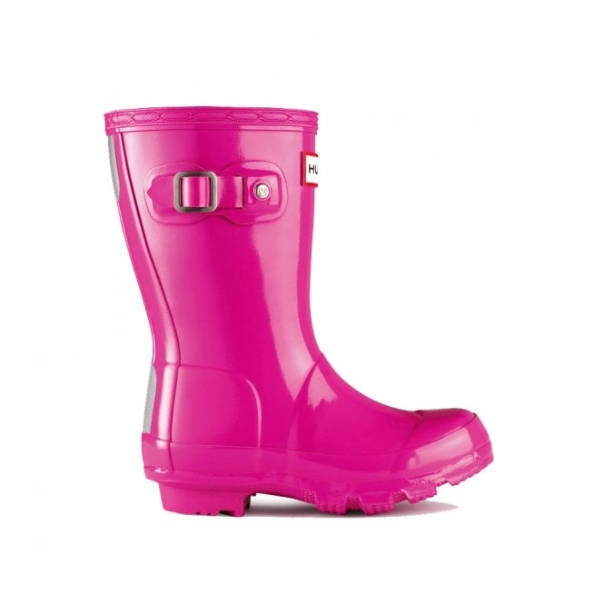 Hunter New Original Kids Gloss Wellington Boots - Gloss Lipstick (Pink)
