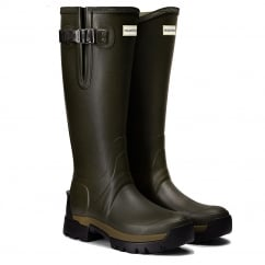 Womens Balmoral Adjustable Neoprene Wellington Boots Dark Olive