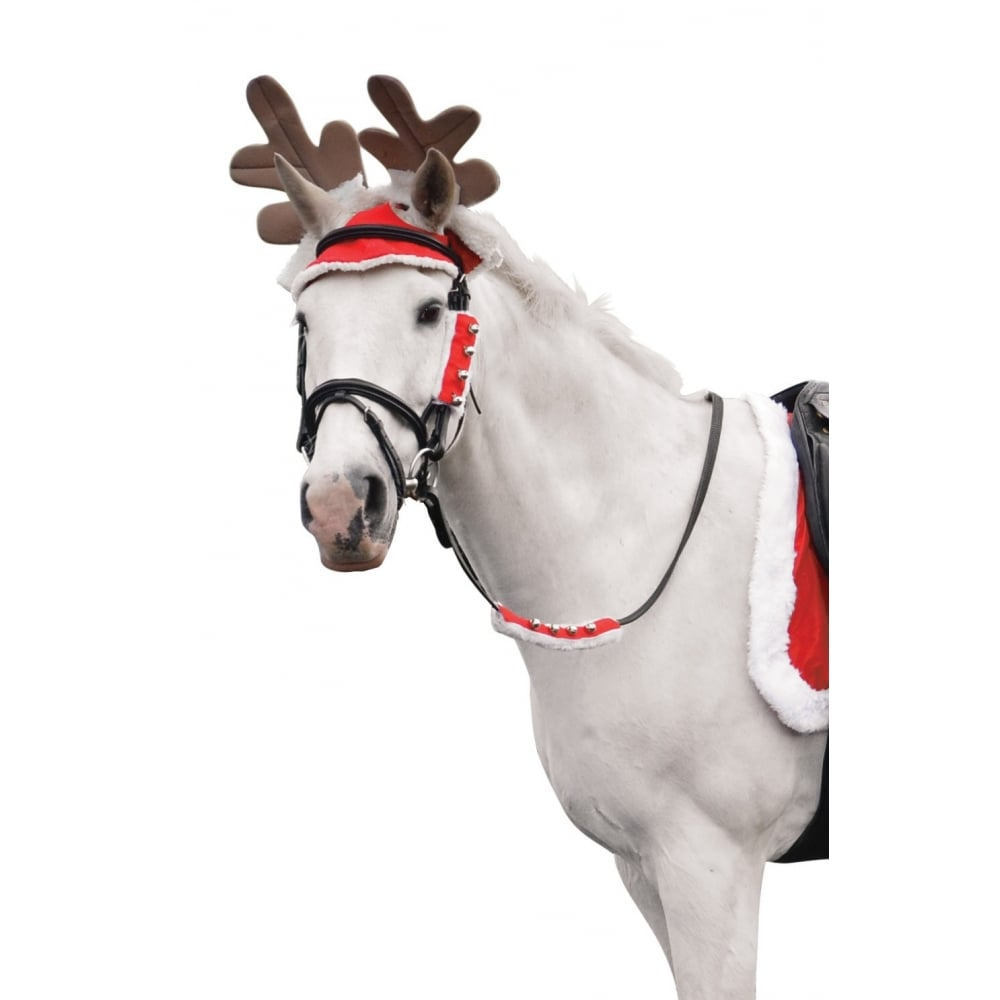 Christmas Horse.Hy Christmas Reindeer Antlers Red White Brown Horse Costume