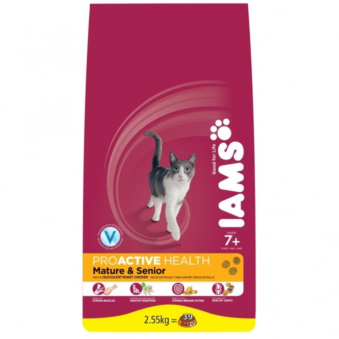 Iams ProActive Senior & Mature Cat Food 7+ Years With Chicken 2.55Kg