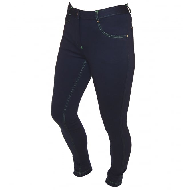 Legacy Life Style Junior Contrast Jodhpurs Navy & Lime