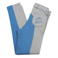 Life Style Junior Contrast Jodhpurs Quarry Grey & Swedish Blue