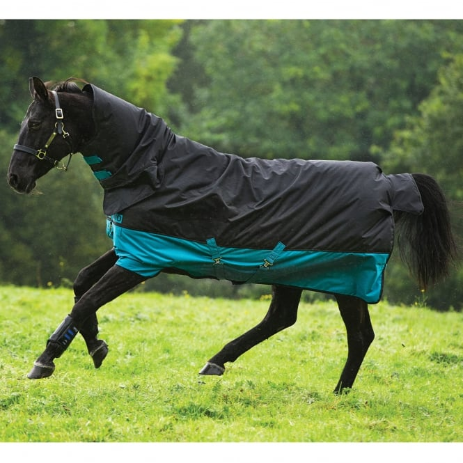 Mio All in One 200g Turnout Rug Black/Turquoise