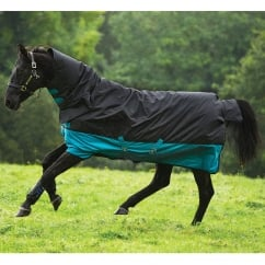 All in One 200g Turnout Rug Black/Turquoise