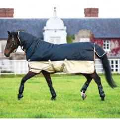 All in One 350g Turnout Rug Navy/Tan