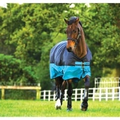Medium Turnout Rug 200g Turquoise And Black