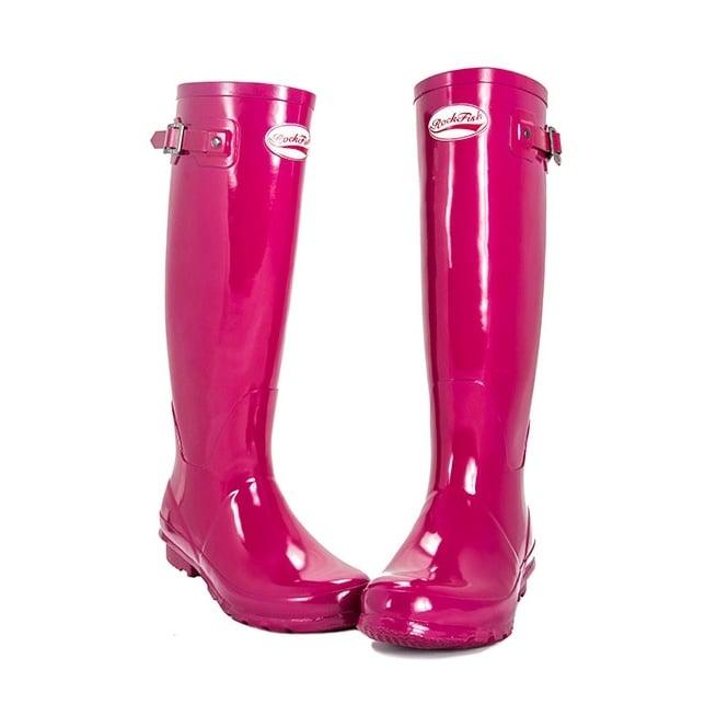 UK SIZES Rockfish Original Tall Ladies Wellington Boots Gloss Magenta