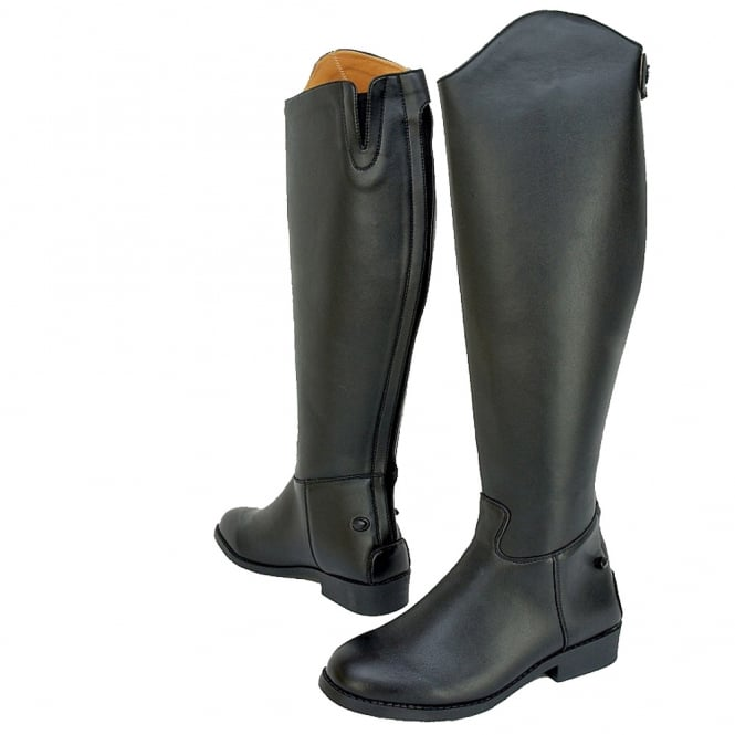 Saxon Adults Equileather Tall Plain Riding Boots - Wide Fit - Black