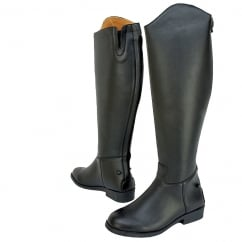 Adults Equileather Tall Plain Riding Boots - Wide Fit - Black
