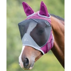 Deluxe Fly Mask With Ears Burgundy