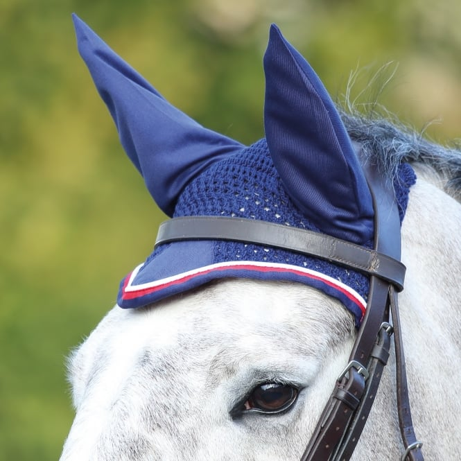 Shires Deluxe Fly Veil Navy & Red