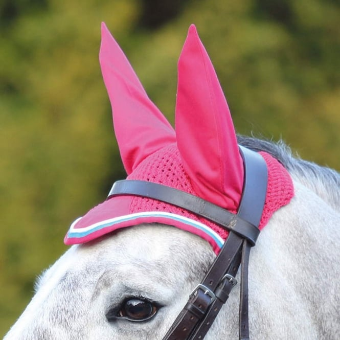 Shires Deluxe Fly Veil Pink & Blue