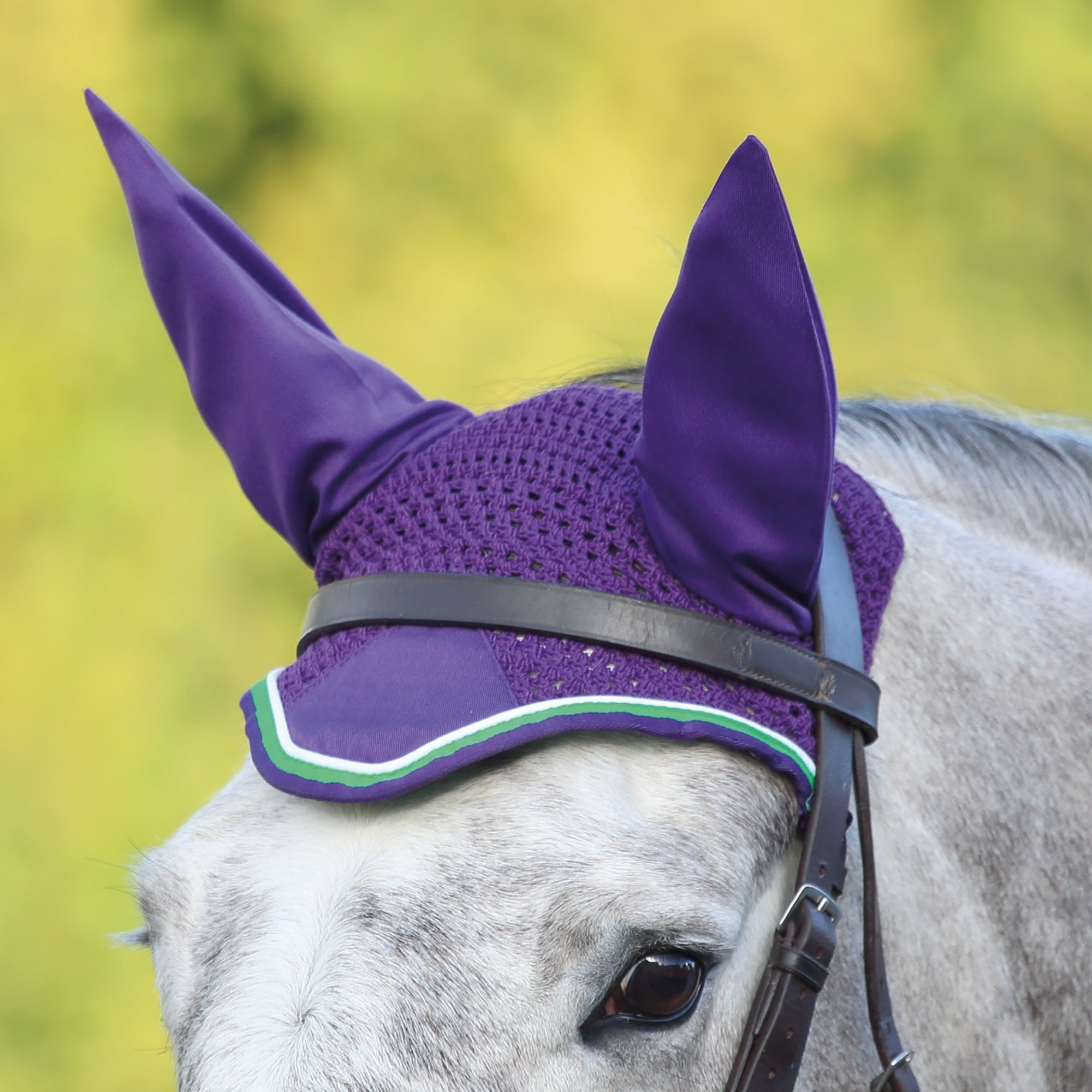 Shires Equestrian Deluxe Fly Veil Purple Lime Green