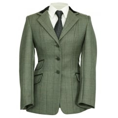 Huntingdon Ladies Jacket Green Herringbone