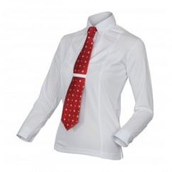 Ladies Long Sleeve Tie Shirt White