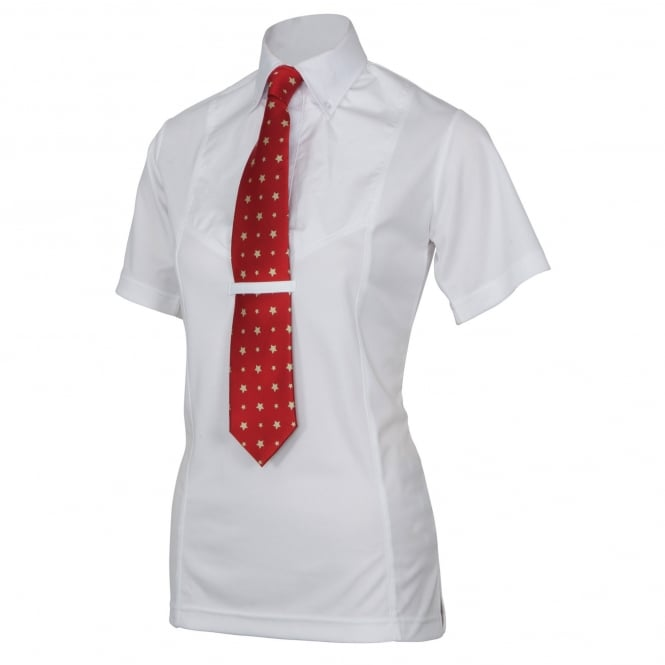 Shires Ladies Short Sleeve Tie Shirt White