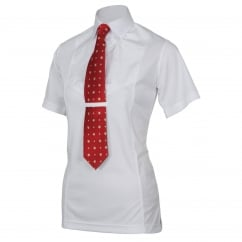 Ladies Short Sleeve Tie Shirt White