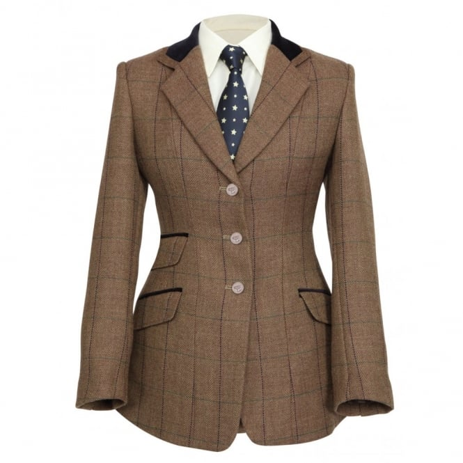 Shires Huntingdon Ladies Show Jacket - Brown Herringbone