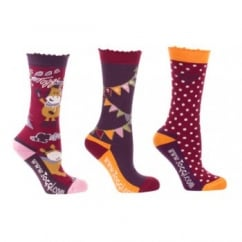 Acorn Girls / Kids 3 Pack Socks Autumn Print