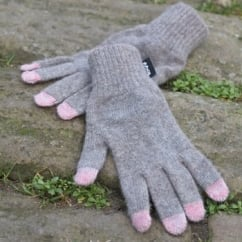 Beeston Tech Gloves Greige OneSize - Touch-Screen-Phone Friendly Gloves