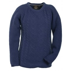 Bepton Ladies Crew Neck Knitted Lambswool Jumper Night Blue