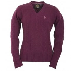 Chantry Ladies V-Neck Knitted Lambswool Jumper Aubergine