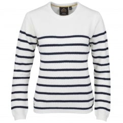 Cranston Ladies Striped Knitted Jumper Night Blue Vanilla